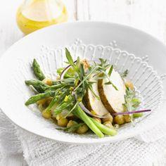 Salade de pois chiches et asperges à la volaille