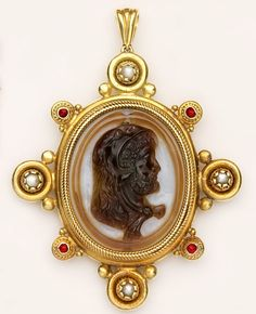 Victorian Agate Cameo, Natural Pearl, Ruby And Gold Etruscan Revival Pendant - Castellani