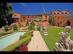 backyard of home owned by William Randolph Hearst in Beverly Hills - sits above the Beverly Hills Hotel - 50,000+ sqaure feet - listed in 2010 for 95m