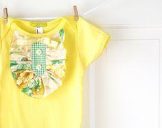 Baby Girl Yellow Ruffle Onesie Yellow Ivory Green by ChirpAndBloom, $26.00