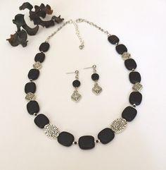 Black Silver Necklace Set Beaded Black by BarbsBeadedJewelry