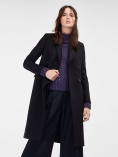 Autumn winter 2016 WOMEN´s DOUBLE-BREASTED NAVY BLUE COAT at Massimo Dutti for 2199. Effortless elegance!