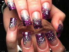 purple silver glitter nails