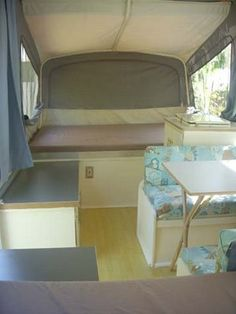 Good ideas here for pop up camper updates - bamboo flooring, painted cabinets & walls, all new upholstery, new counter tops and new hardware
