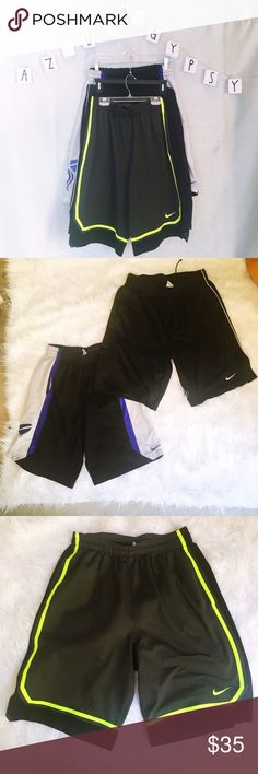 ✨ 3 Pierce of Nike Basketball Shorts ✨ First two are size L- Neon pair is size M- As Is- some pulls and some marks that's why they are listed so low. Nike Shorts Athletic