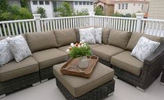 Patio sectional. A large sectional adds comfort and style to this balcony…
