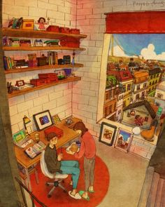 """Artist """"Puuung"""" - Love is in Small Things: captures those little moments that make love whole in these heartwarming illustrations. What's True Love, Love Me Like, Love Is Sweet, What Is Love, Cute Love, Couple Illustration, Illustration Art, Puuung Love Is, Art Amour"""