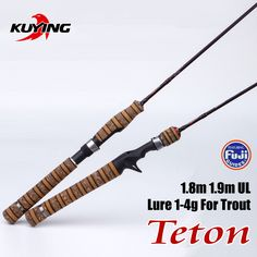 KUYING Teton UL Ultra-light Soft Fishing Rod 1.8m 1.9m Lure Carbon Casting Spinning Cane Pole FUJI Parts Medium Action For Trout free shipping worldwide