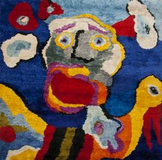 "http://www.masterworksfineart.com  Hand-woven tapestry, ""Flying in Blue Sky"", Karel Appel 1979. I think this is a tufted pile piece not a flat weave."