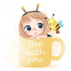 Hand Drawn Cute Girl Sitting Inside The Cup Playing With Bee Girl Cartoon Characters, Cute Cartoon Girl, Boy Drawing, Drawing For Kids, Kid Fonts, Mazes For Kids, Kids Background, Bird Poster, Silhouette Clip Art