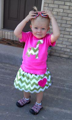 Cute! Dinos for a girl. Dinosaur Chevron Onesie Shirt and Skirt set