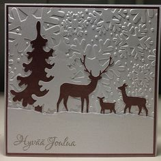 This photo shows beautiful embossing. Homemade Christmas Cards, Christmas Cards To Make, Xmas Cards, Homemade Cards, Christmas Deer, Handmade Christmas, Holiday Cards, Happy Birthday Cards, Birthday Greeting Cards