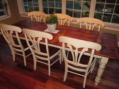 White Pine Barn Wood Table with antique white legs and glaze, our manor house chair