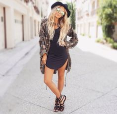 Cool army jacket, classy hat