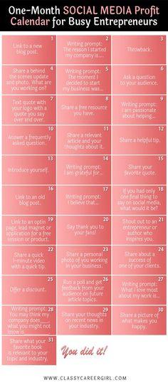 1 month Social Media Calendar for Busy Entrepreneur. How to become an entrepreneur. Business tips.