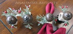 Rustic Country Bell and Berry Napkin Rings - Christmas - Created Oct. by Anastasia's Artifacts Christmas Napkin Rings, Christmas Napkins, Christmas Bulbs, Baby Girl Christening, Thing 1, Red Berries, Jingle Bells, Etsy Store, Berry