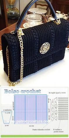 Crochet Purses bolso a crochet tipo Channel diy.tema 132 - bolso a crochet tipo Channel diy. Crochet Backpack Pattern, Crochet Purse Patterns, Crochet Clutch, Crochet Handbags, Crochet Purses, Bag Patterns, Crochet Bags, Sewing Patterns, Tote Pattern