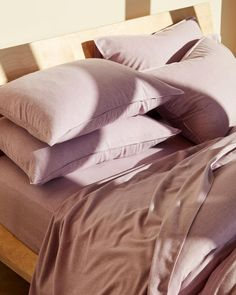 """Brooklinen lavender sheets. Known as """"the internet's favorite sheets"""" for good reason, Brooklinen has built a thriving business on making high-quality sheets at great prices, which they maintain with their direct-to-consumer model. Brooklinen has a number of trendy styles, as well as classics. Want to go super-luxe? Try the Brooklinen cashmere bedding!"""