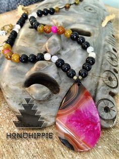 Boho Hippie Crazy Lace Agate Mala Hippie necklace by HonuHippie