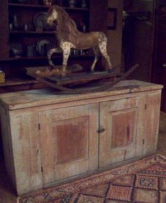 Old Primitive Cupboard.with early prim rocking horse. Primitive Homes, Primitive Antiques, Country Primitive, Primitive Decor, Primitive Kitchen, Antique Rocking Horse, Vintage Horse, Rocking Horses, Primitive Cabinets