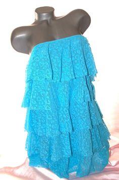 VICTORIA'S SECRET SWIMSUIT BEACH COVER UP LARGE BLUE HEART & LEOPARD RUFFLE NWT   | eBay
