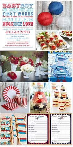 red, white and blue baby shower inspiration -