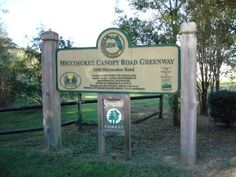 Trailhead for the Miccosukee Canopy Road Greenway, which parallels almost six miles of another historic canopy road in Tallahassee, Florida - Miccosukee Road. This is called the Red Hills Region of northern Florida because of the red clay soil found in the area. Along the trail, hikers may see over 46 species of birds, including ibis, egrets, and herons, as well as many types of plants and wildflowers.