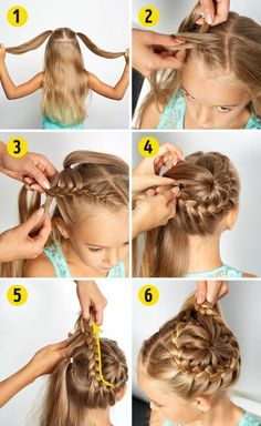 Here is a collection of 25 easy little girl hairstyles! There are loads of cute hairstyles for little girls which will help inspire you! Easy Little Girl Hairstyles, Baby Girl Hairstyles, Braided Hairstyles, Braided Ponytail, Bun Braid, Braided Buns, Toddler Hairstyles, Lace Braid, School Hairstyles