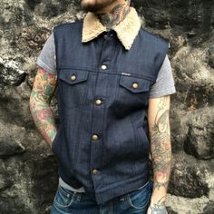 DePalma Sherpa Denim Vest Indigo in the group Denim / Vest at Sivletto (w9938)