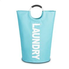 DelbouTree Large Laundry Basket,Collapsible Fabric Laundry Hamper,Foldable Clothes Bag,Folding Washing Bin Light Blue,College Laundry Bags for Heavy-Duty Use with Alloy Handles Large Laundry Hamper, Folding Laundry Basket, Laundry Bags, Storage Bags For Clothes, Bag Storage, Washing Bins, Hamper Basket, Wash Bags, Blue Bags