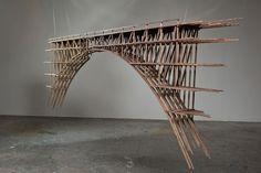 Large sculpture of MT Steele Architecture Model Making, Paper Architecture, Bamboo Architecture, Stairs Architecture, Architecture Details, Bridge Model, Bridge Structure, Bamboo Structure, Arch Model