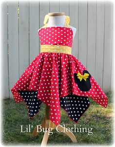 Minnie Mouse Handkerchief Dess Red Yellow And by LilBugsClothing, $49.99