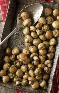 oven roasted mushrooms with butter, garlic, and parsley! They will be the perfect side dish for my Easter dinner and something I will have to make extra