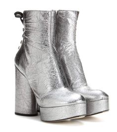 Marc Jacobs - Metallic leather platform ankle boots - The metallic silver-tone leather evokes the futuristic look of the '60s and '70s, especially next to the sky-high chunky heel and platform. - @ www.mytheresa.com