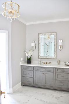 Meme HIll studio amie Freling Concept 2 Bathroom W Grey Marble Bathroom, Gold Bathroom, Grey Bathroom Decor, Gray And White Bathroom Ideas, Grey Bathroom Cabinets, White Bathroom Paint, White Vanity Bathroom, Master Bathroom, Bad Inspiration