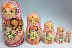 Pink Girl With Butterfly And Flowers 5 Piece Russian Handcrafted Wooden Nesting Dolls