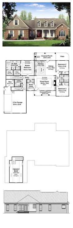 Ranch House Plan 59137 | Total Living Area: 2021 sq. ft., 3 bedrooms & 2.5 bathrooms. The front and rear covered porches add plenty of usable outdoor living space and include that much-requested outdoor kitchen. Expansive great room includes a beautiful trayed ceiling and features built-in cabinets and a gas fireplace. #houseplan #ranchstyle