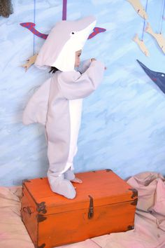 Grey & White Dolphin Costume- size 3-4 via Etsy