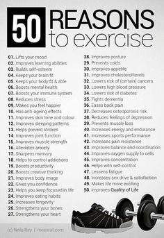 50 reasons to exercise - fitness workout motivation! Some great reasons to get out and get busy! - Try out today enjoy health fitness Via Montag Motivation, Gewichtsverlust Motivation, Weight Loss Motivation, Motivation Inspiration, Motivation To Work Out, Motivation To Exercise, Workout Motivation Pictures, Workout Inspiration, Skinny Motivation