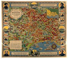 Pictorial Map - Melbourne Centennial, O J Dale, 1934