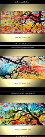 Oh I want to do this!  Make trees with India ink (blow into straws for branches?) watercolor wet on wet for background so beautiful would hang in my bedroom