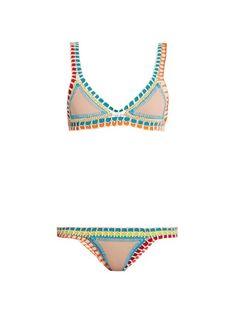 5865208f8ed2 Kiini Luna crochet-trimmed triangle bikini Biquini, Crochet A Mão, Costura  De Crochê