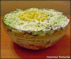 Sałatka na ostro czyli por i kurczak w sosie czosnkowym.