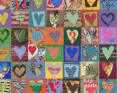 100 HEARTS mixed media assemblage original collage on wood