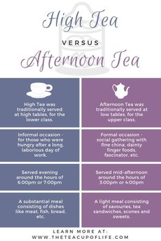 High Tea and Afternoon Tea: Do You Know The Difference? - - High Tea and Afternoon Tea are often misunderstood and confused for one another. However, these two tea services are not equal. Tea Etiquette, Etiquette And Manners, Masala Chai, Clotted Cream, Wine Wednesday, Afternoon Tea Parties, High Tea Parties, Afternoon Tea Menu Ideas, Royal Tea
