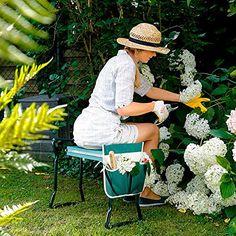 Extrem praktisch: Der 2 in 1 Sitz und Kniestuhl für bequeme Gartenarbeit - inklusive Werkzeugtasche. Jetzt rücken- und knieschonend den Garten pflegen!