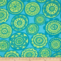 Erin Mcmorris Summersault Sateen Cartwheel Teal from @fabricdotcom  Screen printed on cotton sateen; this medium weight fabric designed by Erin McMorris is very versatile. This fabric is perfect for window treatments (draperies, valances, curtains, and swags), bed skirts, duvet covers, pillow shams, accent pillows, tote bags, aprons, slipcovers and upholstery. Colors include lime, teal and turquoise.