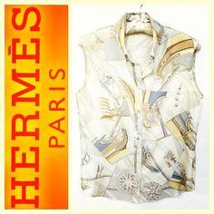 Hermes Dominik Jarlegant 'Face Au Large' print silk blouse sz.40/M RR Price: $225 www.resalerichesnyc.com
