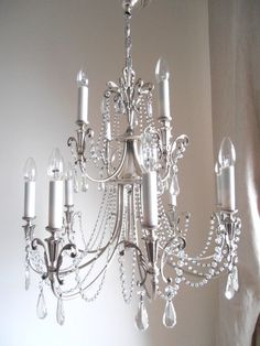 in saldo Lampadario cristallo vintage 12 luci, cristalli, da personalizzare bianco o crema shabby chic on Etsy, 668,22€