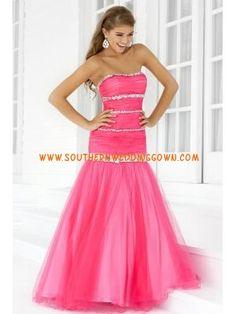 6c189aca8c Pink Tulle Full Length Rhinestones Trumpet Prom Dress for Girls 2013
